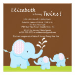 Mama & Twin Elephants Baby Shower Boy or Girl Card