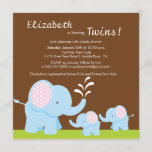 Mama & Twin Elephants Baby Shower Boy or Girl Invitation