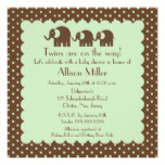 Mama & Twins Elephant Baby Shower Card
