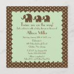 Mama & Twins Elephant Baby Shower Invitation