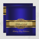 Mans Royal blue Gold Birthday Party Mens Invitation