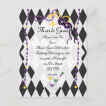 Mardi Gras Party Invitation Postcard