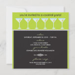 Martini Glasses Cocktail Party Invitation (lime)