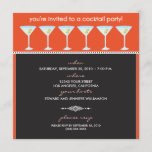 Martini Glasses Cocktail Party Invitation (orange)
