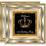 Men's Black Gold Silver Birthday Prince King 3 Invitation