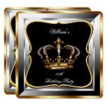 Men's Black Silver Gold Birthday Prince King 2 Card