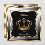 Men's Black Silver Gold Birthday Prince King 2 Invitation