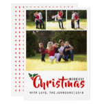 Merriest Christmas holly 4 photo collage card