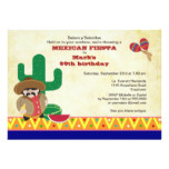 Mexican Hombre with Cactus Fiesta Birthday Invite