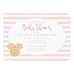 Minnie | Pink Striped Gold Glitter Baby Shower Card