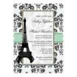 Mint Green and Black Damask Eiffel Tower Wedding Card