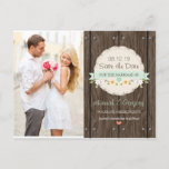 MINT GREEN RUSTIC FLORAL BOHO SAVE THE DATE ANNOUNCEMENT POSTCARD