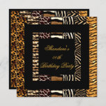 Mixed Animal Prints Gold Black Birthday Party Invitation