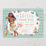 Moana | Striped Watercolor Birthday Invitation