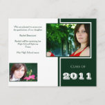 Modern White and Green Quad Graduation Announcement