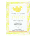 Modern Yellow Ducks Couple Twins Baby Shower Card