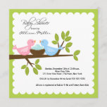 Mom & Dad Birds with TRIPLETS Baby Shower Invitation