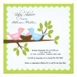 Mom Dad Birds with TWINS Baby Shower Card