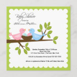 Mom Dad Birds with TWINS Baby Shower Invitation
