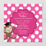 Monkey Grad Graduation Invitation for Girls