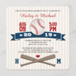 MONOGRAMMED BASEBALL ENGAGEMENT PARTY INVITATION