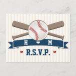 Monogrammed Baseball Wedding RSVP Postcard