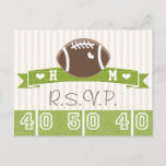 Monogrammed Football Wedding RSVP Postcard