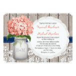 Monogrammed Mason Jar Coral Navy Hydrangea Wedding Card