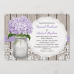 Monogrammed Mason Jar Purple Hydrangea Wedding Invitation