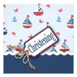 Nautical Sailboat Baptism Card