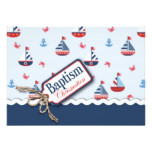 Nautical Sailboats Baptism Card