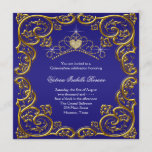 Navy Blue Gold Tiara Sweet 15 Quinceanera Invitation