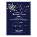 Navy Blue Silver Winter Rehearsal Dinner invite