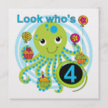 Octopus 4th Birthday T shirts and Gifts Card