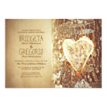 old rustic tree heart rehearsal dinner invitations