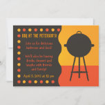 Orange and Black Grill BBQ  Invitation