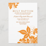 Orange Floral Holy Baptism Invitation