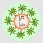 Palm Circle Luau Classic Round Sticker
