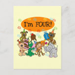 Party Animals 4th Birthday Tshirts and Gifts Invitation Postcard