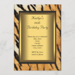 Party Birthday Tiger Animal Gold Invitation