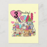 Party Kittens 3rd  Birthday Tshirts and gifts Invitation Postcard