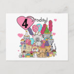 Party Kittens 4th Birthday T-shirts and gifts Invitation Postcard