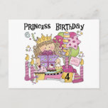 Party Princess 4th Birthday Tshirts and gifts Invitation Postcard