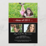 Photo Trio Custom Graduation Announcement (maroon)