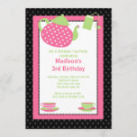 Pink & Black Tea Party Birthday Party Invitation