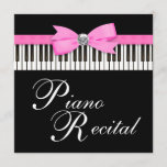 Pink and Black Piano Keys Recital Invitation