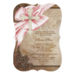 Pink and Brown Cross First Communion Card