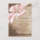 Pink and Brown Cross First Communion Invitation