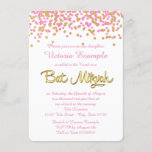 Pink and Gold Confetti Bat Mitzvah Invitation
