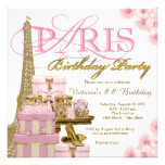 Pink and Gold Paris Birthday Party Card